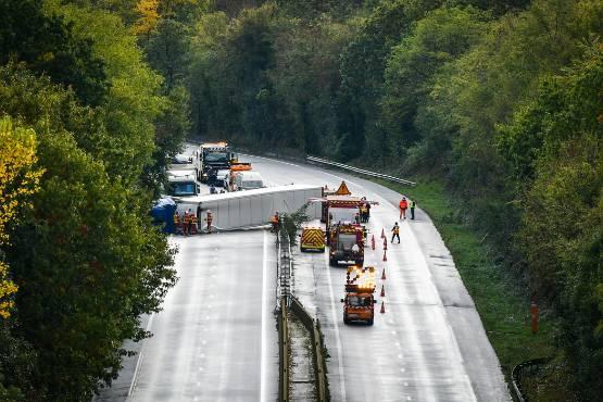 Truck Overturned Across A20 Highway Near Feytiat