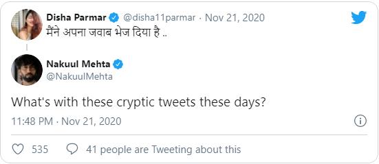 Nakuul Mehta Tweet on Disha Parmar Reply To Rahul Vaidya